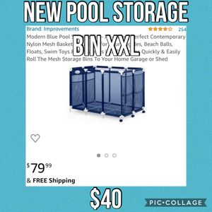 Modern Blue Pool Storage Bin - XX-Large | Perfect Contemporary Nylon Mesh Basket Organizer For Your Goggles, Beach Balls, Floats, Swim Toys & Accesso for Sale in Laguna Hills, CA
