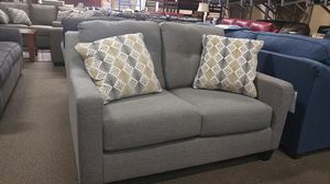 Grey fabric loveseat couch with pillows for Sale in Portland, OR