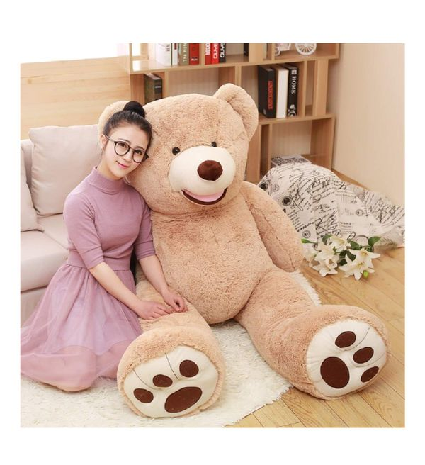 DOLDOA Big Teddy Bear Stuffed Animals with Footprints Plush Toy for Girlfriend Brown 51 inch