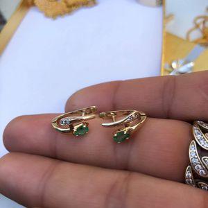 14k gold emerald diamond earrings for Sale in Lynwood, CA