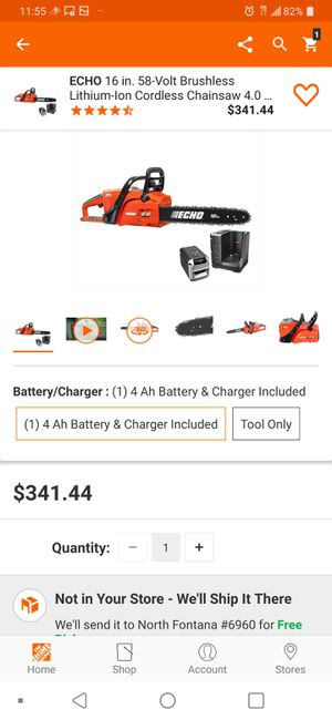 """Echo 58v 16"""" Brushless Chainsaw 4.0ah Battery Charger for Sale in Fontana, CA"""