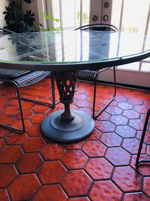 """Kitchen table glass and iron- 48"""" wide with four chairs for Sale in Nanuet, NY"""