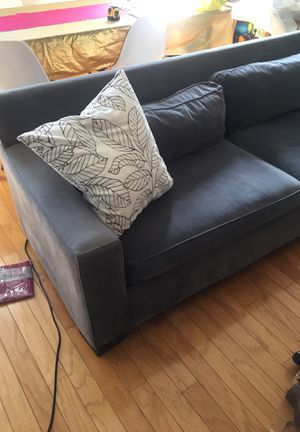 West Elm grey/blue velvet sofa couch for Sale in Pittsburgh, PA