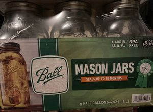 Ball Glass Mason Jars with Lids & Bands, Wide Mouth, 64 OZ for Sale in Rialto, CA