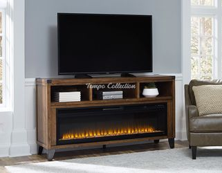 New TV Stand with Fireplace for TVs up to 75 nch TVs, Brown, SKU# ASHW765-68TC for Sale in Santa Fe Springs,  CA
