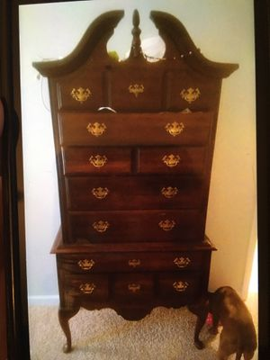 Tall real wood dresser with matching nightstand for Sale in Murfreesboro, TN