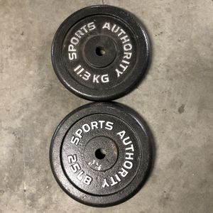 "2 x 25 lbs Weights - Standard 1"" Weight Plates - 50 lbs total for Sale in Los Angeles, CA"