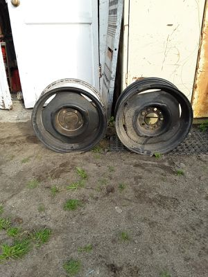 Trailer wheels size 15 x 5 1,/2. Wide. 5 lug. On 4.50 bolt pattern steel rims no tires only have 2 rims. for Sale in CTY OF CMMRCE, CA