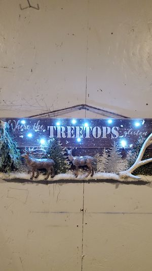 "Where the Tree Top Glisten Battery Light up Sign, New, Made at Curtis Country 8""x23"" for Sale in Spanaway, WA"