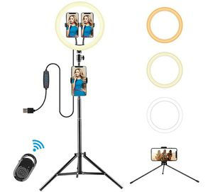 """12"""" Ring Light with Stand - 3 Colors Dimming LED Ring Lights with 3 Extendable Phone Holder for Photography Compatible,Makeup, YouTube, Live Stream for Sale in Queens, NY"""