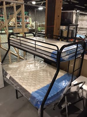 New twin over full bunk beds with new mattresses included for Sale in Granite City, IL