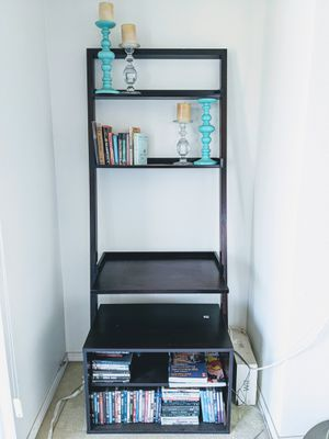 Dark wood ladder desk leaning wall desk and entertainment shelves for Sale in Long Beach, CA