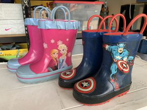 Frozen Captain America kids snow rain winter boots youth rubber for Sale in Rancho Cucamonga, CA
