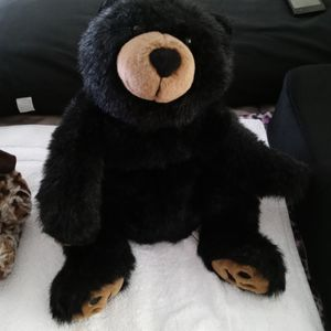 Floppy Teddy Bear Black And Beige Excellent Condition for Sale in Fort Lauderdale, FL