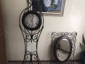 Antique style clock with matching mirror for Sale in Columbus, OH