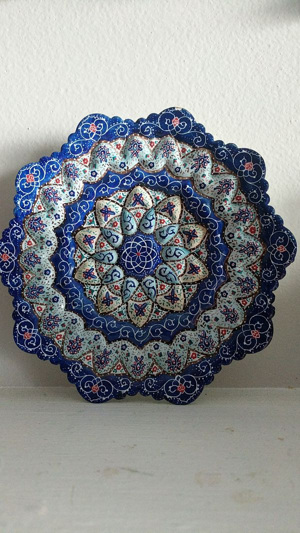 Enamel hand painting on copper plate