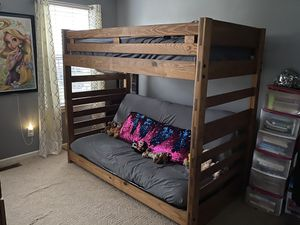 Rare Find!!! 100% Solid Wood Futon Bunk Bed Set w/Dresser & Mattresses Included for Sale in Suffolk, VA