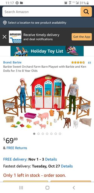 Barbie sweet orchard farm set for Sale in San Jacinto, CA