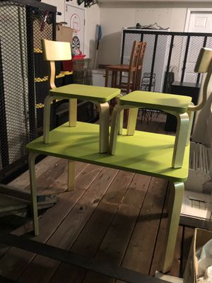 3 Piece Kids Wooden Activity Table and 2 Chairs Set for Sale in Rancho Cucamonga, CA