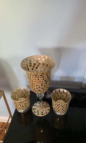 Three piece mosaic candle holder set. for Sale in Carol Stream, IL
