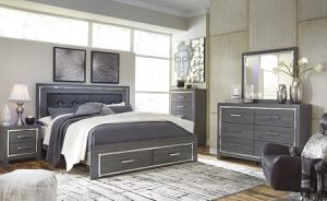Gray LED queen or king bedroom set - bed, dresser, mirror, nightstand    SAME DAY DELIVERY 🚚 for Sale in Rosenberg, TX
