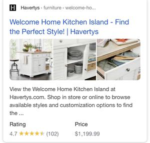 Havertys Kitchen Island/Table for Sale in McKinney, TX
