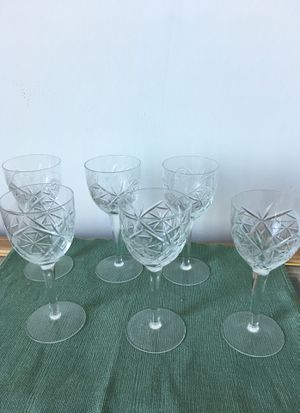 6 Antique, lead crystal wine glasses for Sale in Dallas, TX