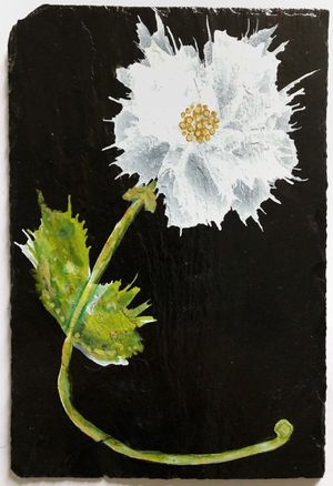 Slate original painting with alcohol inks artwork floral wall hanging for Sale in Crofton, MD