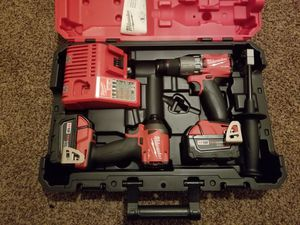Milwaukee M18 FUEL 18-Volt Lithium-Ion Brushless Cordless Hammer Drill & Impact Driver Combo Kit for Sale in Modesto, CA