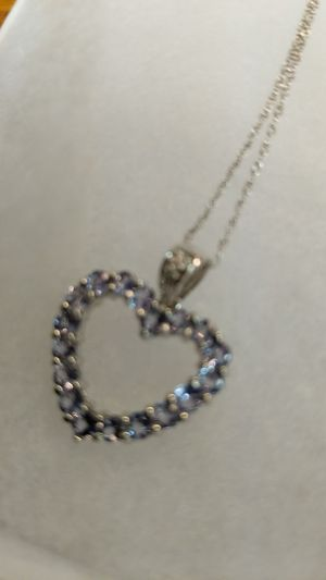 SOLID GOLD 10K TANZANITE WHITE GOLD NECKLACE for Sale in Leesburg, VA