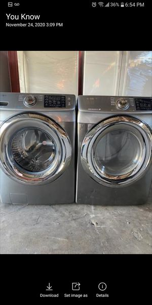 Washer and gas dryer Samsung stainless steel for Sale in Moreno Valley, CA