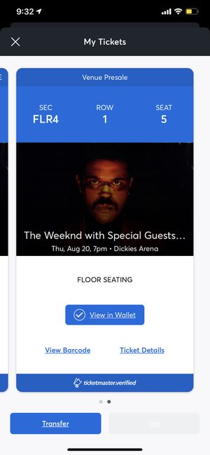 The weeknd concert ticket FORTWORTH for Sale in Dallas, TX