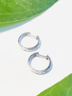 White Gold Hoop Earrings With Diamonds. for Sale in Coral Gables, FL