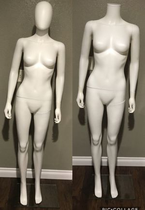 BRAND NEW Plastic Full Size White Female Mannequin with Thick Glass Stand - $85 or 2 for $160 for Sale in Pomona, CA