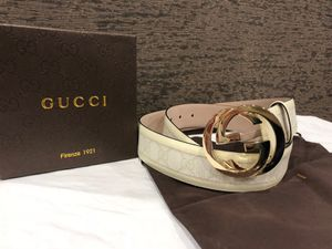 Gucci White Leather GG Belt *Authentic* for Sale in Queens, NY