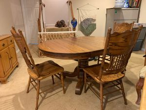 Antique Amish solid oak table with 3 chairs. 850. for all. Normally sold for 1480.00. for Sale in Bristow, VA