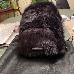 Kendall And Kylie Mini Black Faux Fur Backpack Purse for Sale in Tacoma,  WA