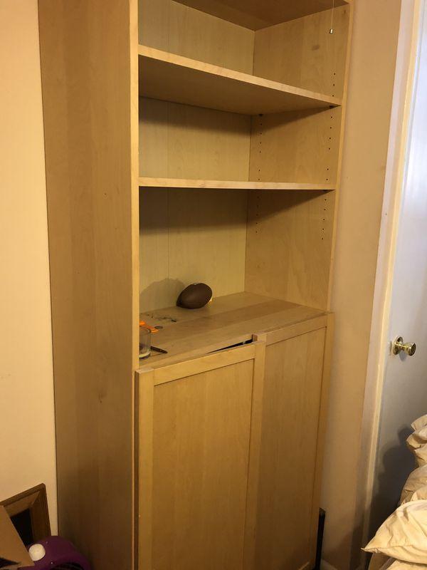 Large storage shelf with cabinet shelves