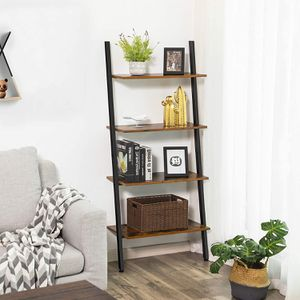 Rustic Brown 4 Tier Industrial Urban Ladder Shelf, Bookshelf, Storage Rack Shelves for Living Room, Kitchen, Office, Iron, Stable, Sloping for Sale in Montclair, CA