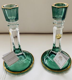 SC Line by Same Cristallerie Emerald Crystal made in Italy Candle Sticks for Sale in Vienna, VA