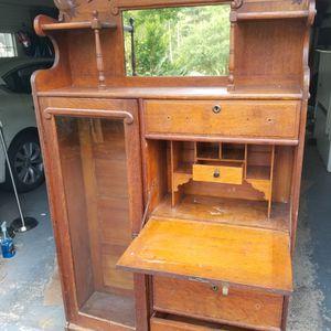 Antique Wood Desk/Cabinet for Sale in Great Falls, VA