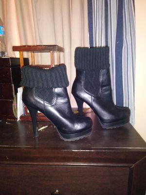 Jennifer Lopez Leather Black Heels Boots for Sale in Las Vegas, NV