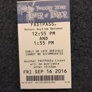 Disney Tower Of Terror FastPass for Sale in San Dimas, CA