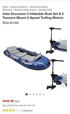 Intex excursion 5 inflatable boat set with electric motor and mont included for Sale in North Miami, FL