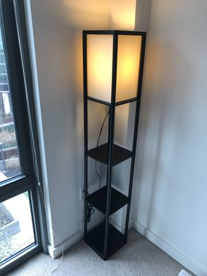 Lamp - Black shelf floor lamp with off white shade for Sale in Arlington, VA