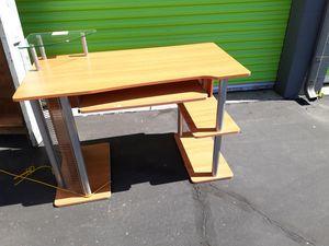 Z-Line Computer Desk w/ Wooden & Glass Shelves for Sale in Santa Ana, CA