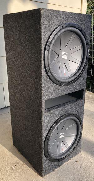 """Two 12"""" Kicker subwoofers with Hifonics 1600 watt amplifier for Sale in Austin, TX"""