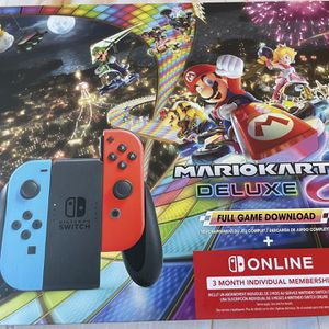 Nintendo Switch™ w/ Neon Blue & Neon Red Joy-Con™ + Mario Kart™ 8 Deluxe (Full Game Download) + 3 Month Nintendo Switch Online Individual Membership for Sale in Fort Lauderdale, FL