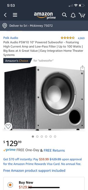 """Polk Audio PSW10 10"""" Powered Subwoofer for Sale in Frisco, TX"""