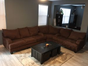 Brown micro fiber sectional couch for Sale in Henderson, NV